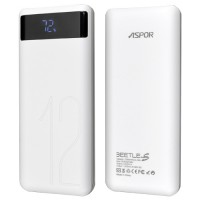 Aspor A349 LCD Dual Power Bank 12000mAh - Ασημί