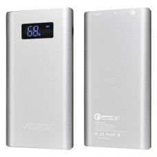 Aspor Q388 LCD Quick Charge 3.0 Power Bank 10000mAh - Ασημί