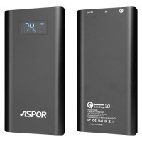 Aspor Q388 LCD Quick Charge 3.0 Power Bank 10000mAh - Μαύρο