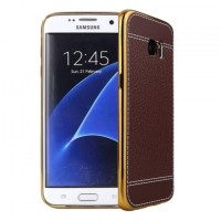 Exclusive OEM Luxury Leather Back Cover για Samsung Galaxy S6 – Καφέ