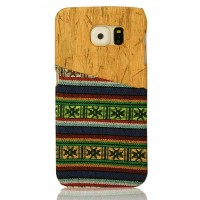 Exclusive OEM TPU Ethnic Wood Pattern Back Cover για Samsung Galaxy S6 Edge - Green/Blue